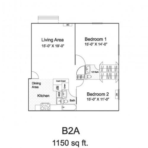 B2A Floor Plan  | Colonial Village Apartments | Apartments in Manchester NH