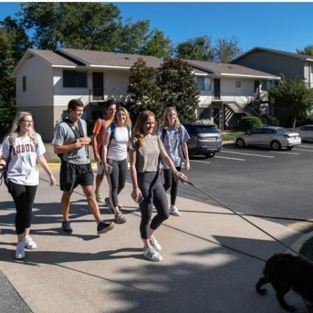 Students Walking to Campus   Eagles West   AU Off Campus Apartments