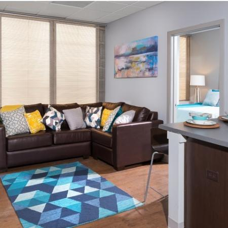 Renovated Interiors - Living Room | University Plaza  | NIU Off Campus Apartments