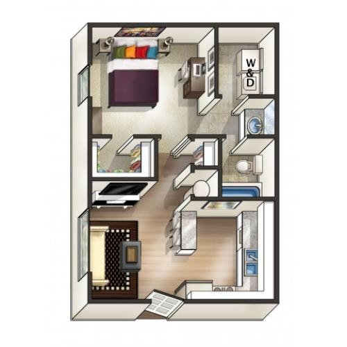 A1 Floor Plan | 1 Bedroom Floor Plan | Eagles West | Apartments Near Auburn University