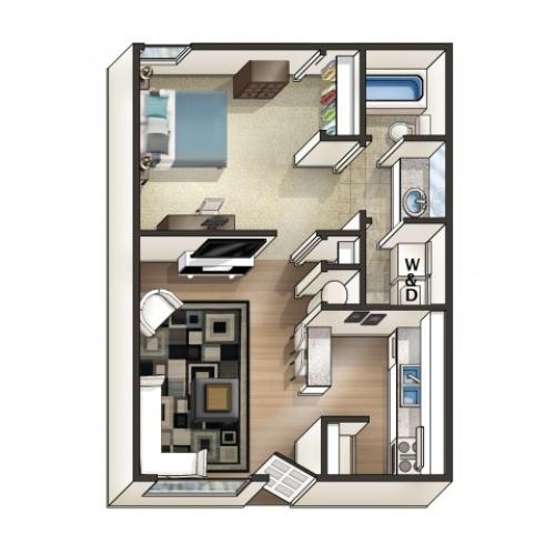 A2 Floor Plan | 1 Bdrm Floor Plan | Eagles West | Student Apartments Auburn AL