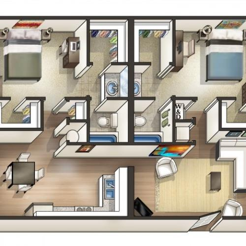 B2 Floor Plan | 2 Bdrm Floor Plan | Eagles West | Student Apartments in Auburn AL