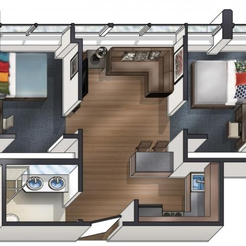 B1 Floor Plan | University Plaza  | NIU Off Campus Apartments