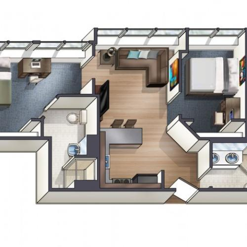 B3 Floor Plan | University Plaza  | NIU Off Campus Apartments