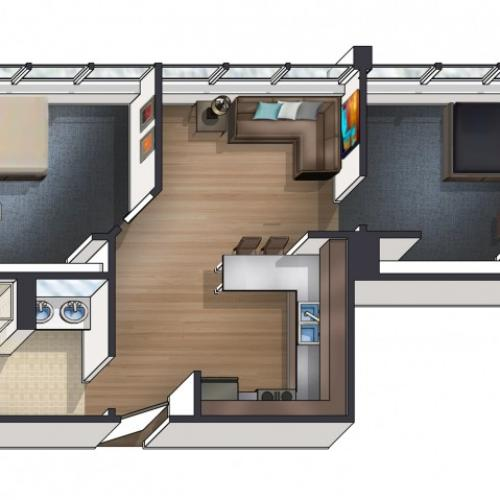 B4 Floor Plan | University Plaza  | NIU Apartments