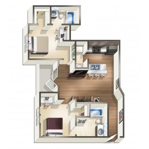 B1 - 2 Bedroom | Floor Plan 2 | Eagle Flatts | Student Apartments In Hattiesburg MS