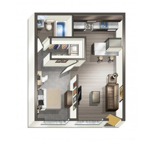 A2 - 1 Bedroom | Floor Plan 2 | Legacy Student Living | FSU Off Campus Apartments