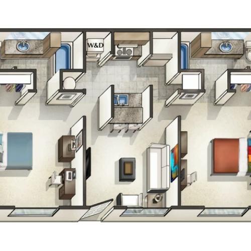 B1 - 2 Bedroom   Floor Plan 3   Legacy Student Living   Tallahassee Student Apartments