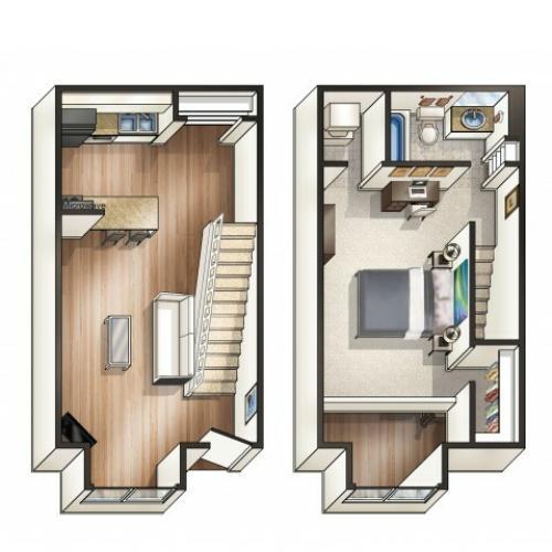 A2 - 1 Bedroom Loft | Floor Plan 2 | Raiders Walk | TTU Off Campus Housing