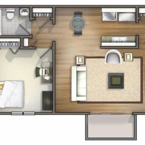 A1 - 1 Bedroom | University Oaks | Kent State Apartments