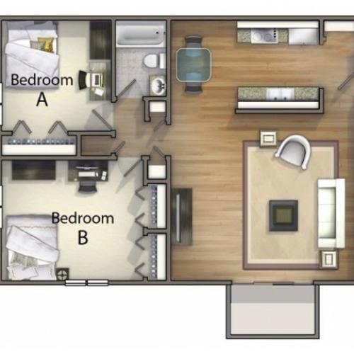 B1 - 2 Bedroom | 2 Bedroom Floor Plan | University Oaks | Apartments Kent Ohio