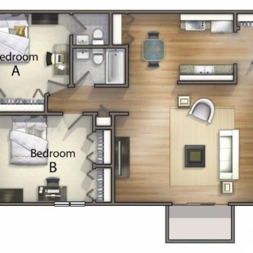 B2 - 2 Bedroom | University Oaks | Apartments In Kent Ohio