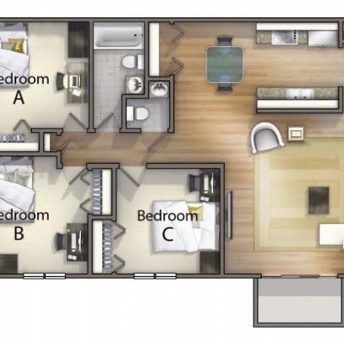 C1 - Three Bedroom | University Oaks | Off Campus Housing Near KSU