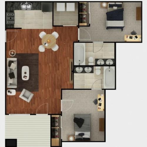 2 Bedroom Floor Plan   The Mark at Lexington    2 & 4 Bdrm Apartments Near University Of Kentucky