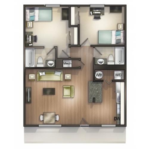 B2 Floor Plan |Seminole Flatts | 2 Bedroom Apartments Tallahassee