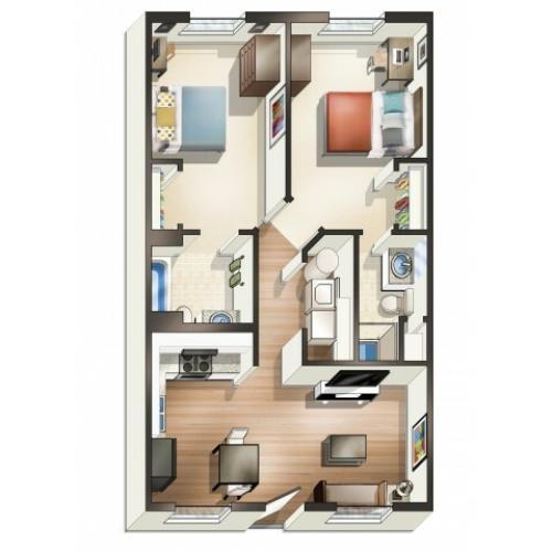 B1 Floor Plan | 2 Bedroom Floor Plan | University Park | 2 Bedroom Apartments In Greenville NC