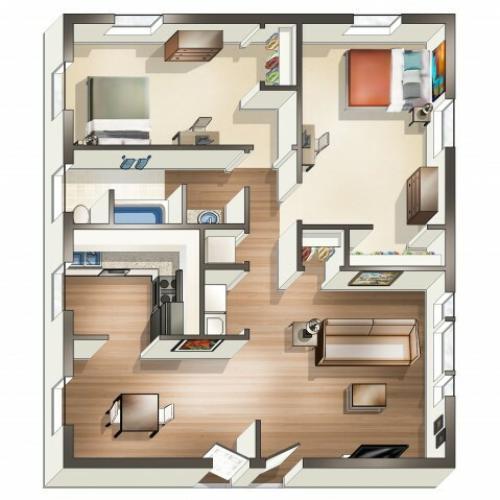 B2 Floor Plan | 2 Bdrm Floor Plan | University Park | Apartments Near ECU
