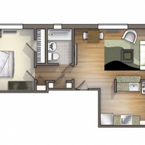A6 Floor Plan | Floor Plan 6 | University Apartments Durham | Apartments Near Duke University