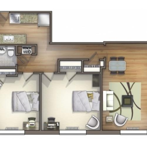 B5 Floor Plan | Floor Plan 15 | University Apartments Durham | Duke Apartments