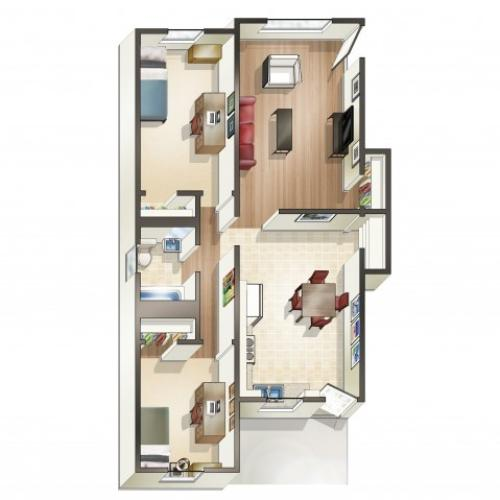 B6 Floor Plan | Floor Plan 16 | University Apartments Durham | Apartments Near Duke University