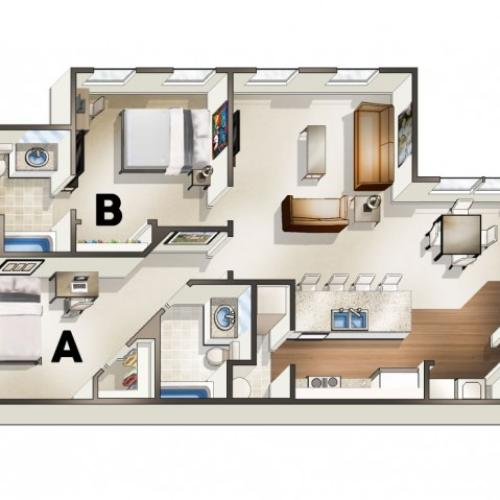 B2 Floor Plan | 2 Bdrm Floor Plan | The Quarters | Apartments Near University Of Louisiana At Lafayette