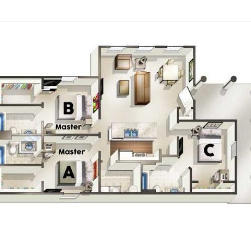 C1 Floor Plan | 3 Bedroom Floor Plan | The Quarters | Apartments In Lafayette LA