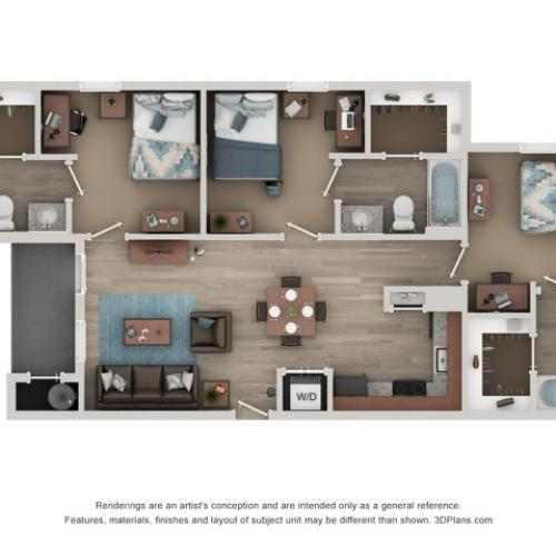 C1 Floor Plan | 3 Bedroom Floor Plan | Flatts at South Campus | Oxford MS Student Apartments