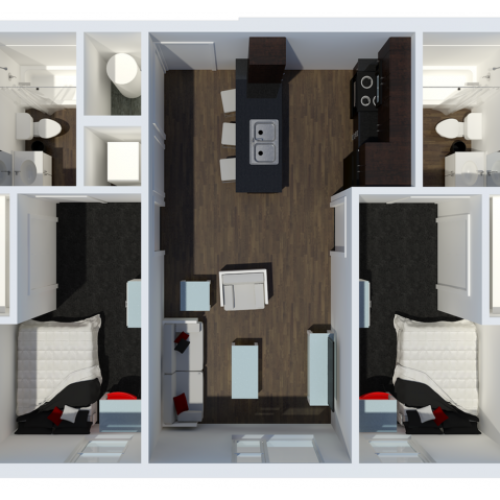 B1 Floor Plan | 2 Bdrm Floor Plan  | The Cardinal at West Center | Apartments In Fayetteville Ar