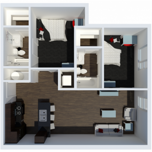 B3 Floor Plan | 2Bdrm Floor Plan | The Cardinal at West Center | Fayetteville AR Apartments