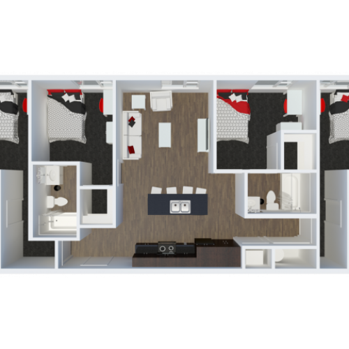 D1B1 with private balcony | 4 Bdrm Floor Plan | The Cardinal at West Center | Apartments near University Of Arkansas
