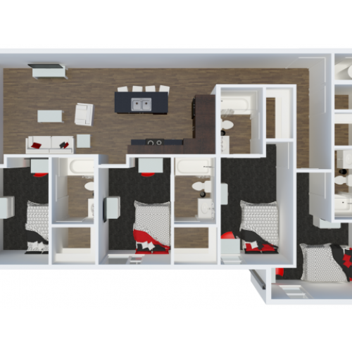 D3 floor plan | 4 Bdrm Floor Plan | The Cardinal at West Center | Fayetteville AR Apartments