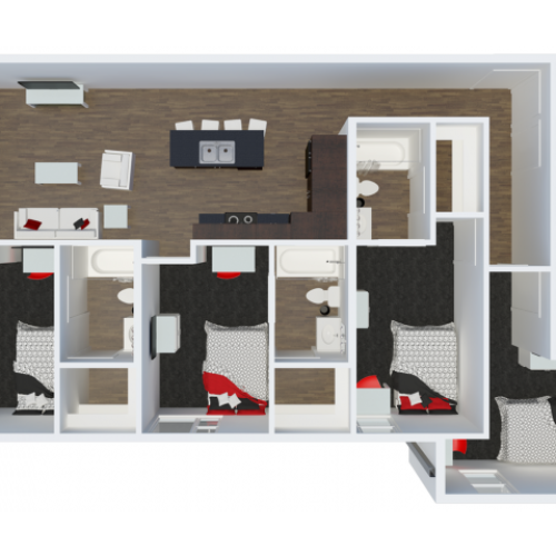 D3B1 4 Bdrm  Floor Plan | The Cardinal at West Center | Off Campus Apartments near University Of Arkansas