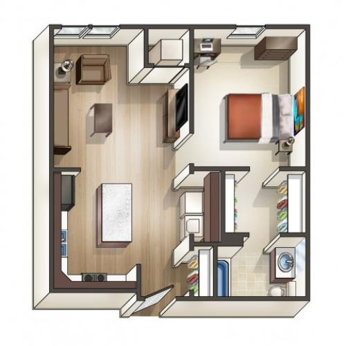 A1 floor plan | 1 Bedroom Floor Plan | University Hills | Toledo OH Student Apartments