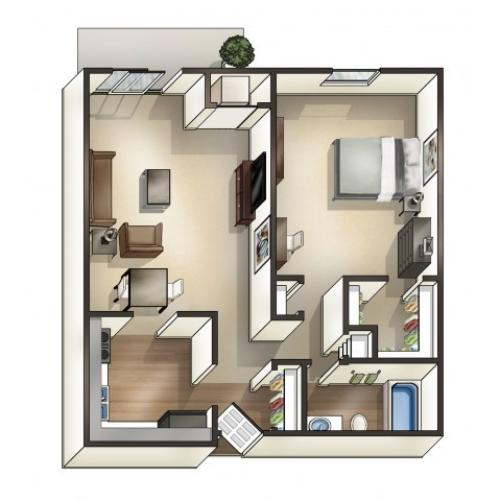 A2 floor plan | 1 Bdrm Floor Plan | University Hills | University Of Toledo Student Apartments