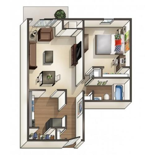 A3 floor plan | 1 Bedroom Floor Plan |  University Hills | University Of Toledo Student Apartments