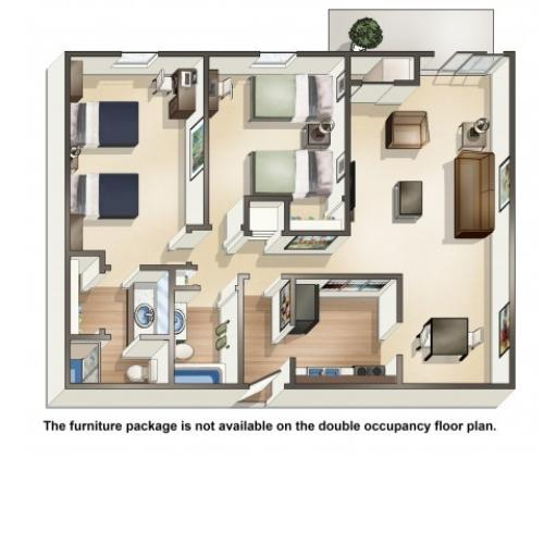 B3DO double occupancy | 2 Bedroom Floor Plan | University Hills | Apartments Toledo Ohio