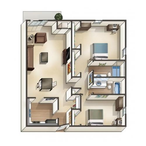 B5 Floor Plan | 2 Bedroom | University Hills | University Of Toledo Student Apartments