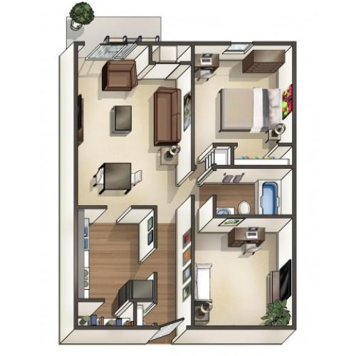 A4 Floor Plan | University Apartments Durham | Apartments Near Duke University