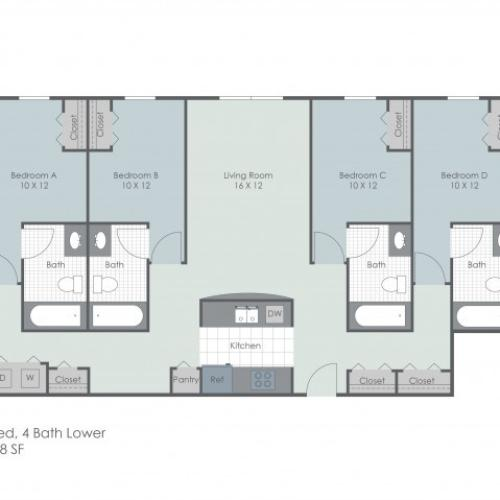 4x4 Bedroom Lower | 22 Exchange | Akron Apartments