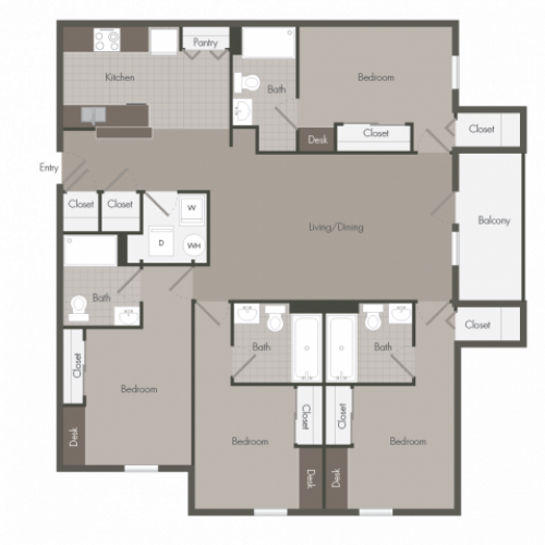 4 Bedroom with 4 Bathrooms | The Point at Raiders Campus | Murfreesboro Apartments