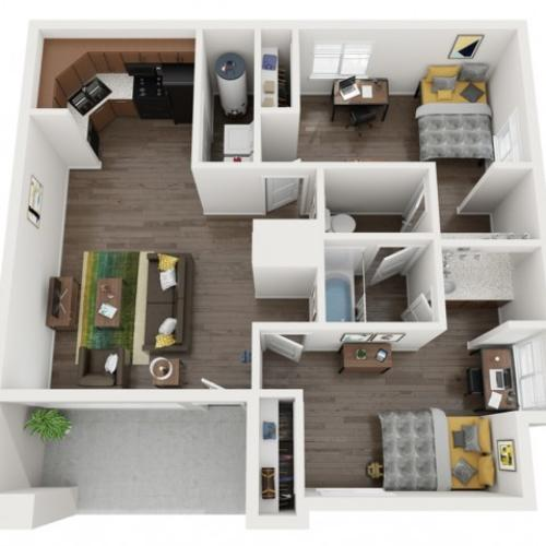 B1 - 2 bedroom / 1 bathroom | The Preserve at Tuscaloosa | UA Off Campus Housing