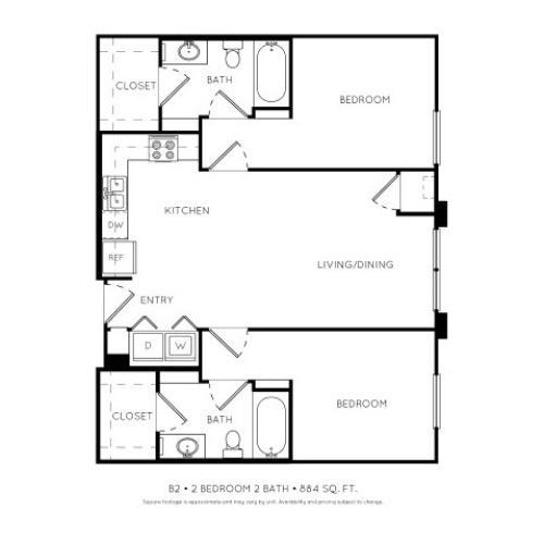 B2  2 Bedroom 2 Bathroom Floorplan