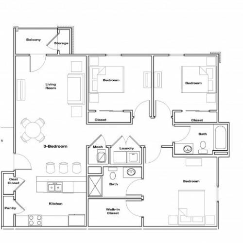 3 Bedroom floor plan Republic Palms