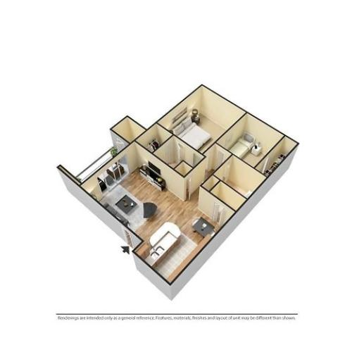 3D Furnished 2-Bedroom Floor Plan Image
