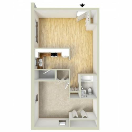 Allandale one bedroom floor plan