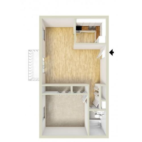 Standard one bedroom floor plan