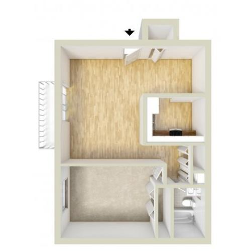 Large one bedroom floor plan
