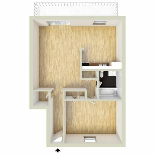 One bedroom, lower level floor plan