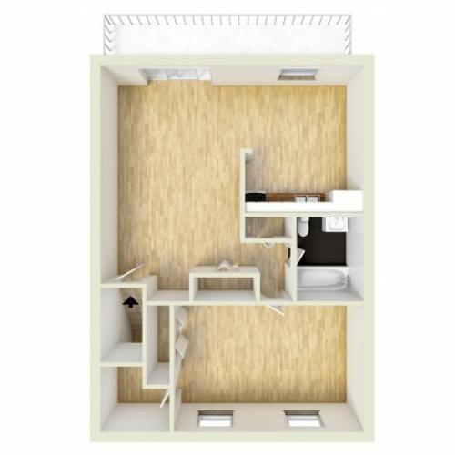 One bedroom, upper level floor plan