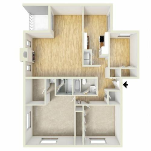 Two bedroom floor plan